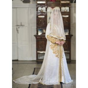 White Moroccan Style Wedding Kaftan With Vail