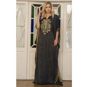 Dark Grey and Gold Arabic Style Handmade Kaftan