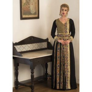 Black and gold color Embroidery Party Wear Full Sleeve Kaftan