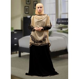 Embroidered  Work Formal Abaya Black and Beige Color