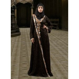 Evening Style Abaya Black and Gold Color