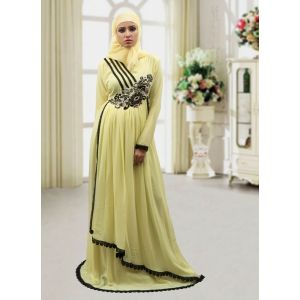 Modest Maxi Dress Abaya Lemon Yellow Color