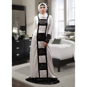Pocket Style Abaya White and Black Color