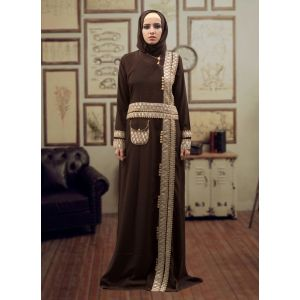 Trendy Abaya Style Kaftan Brown and Beige Color