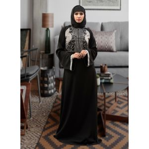 Thread Work Abaya Style Dress Black Color