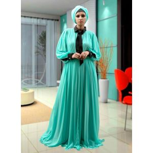 Belted Maxi Dress Abaya Mint Green Color