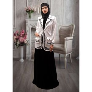 Jacket Style With Pocket Abaya White and Black Color