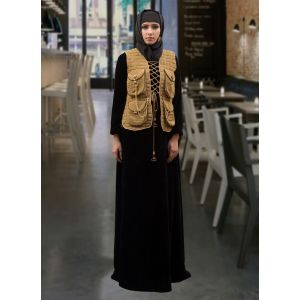 Jacket Style Abaya Black and Dull Gold Color