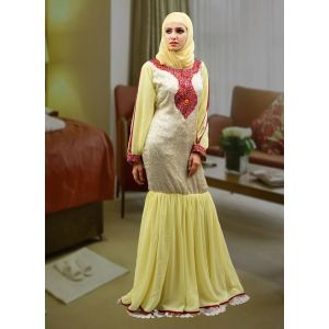 Modest Thread Work Abaya Dress Lemon Yellow and White Color