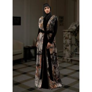 Morrocon Style Abaya Black and Multicoloured  Color