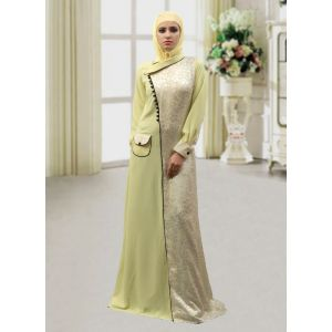 Pocket Style Abaya Lemon Yellow Color