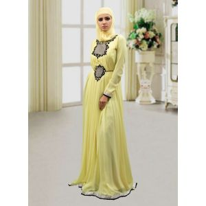 Trendy Abaya Style Kaftan Lemon Yellow Color