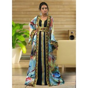 Morrocon Style Multi and Black Color Embroidary Kaftan