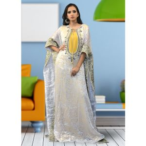 Partywear Thread Work White and Yellow Color Kaftan