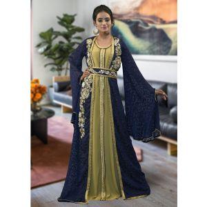 Dark Blue Color Moroccan Style Kaftan