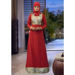 Red Color Embroidered Kaftan