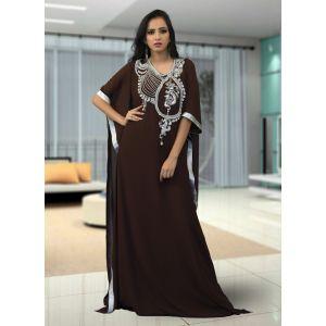 Modest Muslim Evening Brown Color Kaftan