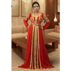 Partywear Red Color Moroccon Kaftan