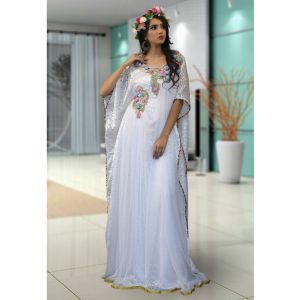White Color Maxi Kaftan Dress
