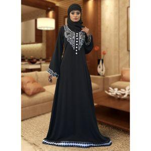Black Color Modest Evening Embrodary Kaftan