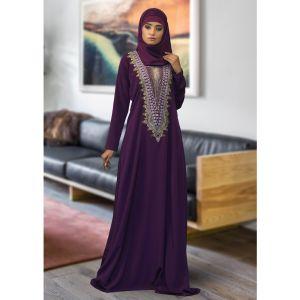 Modest Maxi Dress Abaya Violet Color