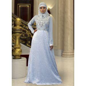 Gray Color Long Sleeve Modest Abaya