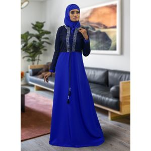 Evening Jacket Style Abaya Blue Color