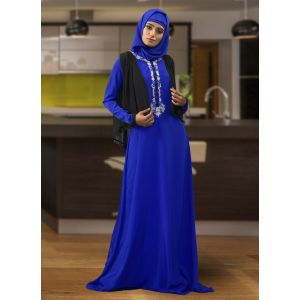 Modest Maxi Dress Blue Color Abaya