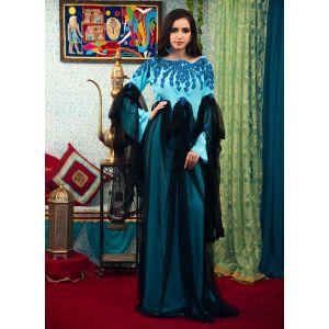 Aqua Blue and Black Modest Muslim Evening Dress