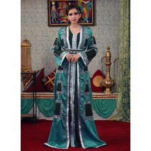Dark Sea Green Color Pocket Style Morrocon Kaftan