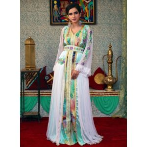 Multi Color and White Color Long Sleeve Modest Morrocon Kaftan