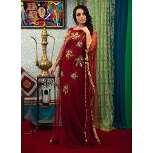 Maroon Color Net Fabric Hand Made Free Size Kaftan