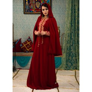Maroon Color Wedding Dress Kaftan With Trail