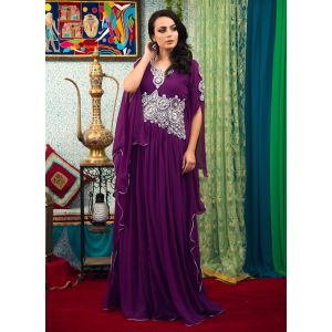 Purple Color Embroidered  Work Formal Kaftan