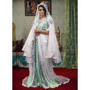 White Color Designer Handmade Arabic Moroccan Long Sleeve Wedding Caftan With Veil