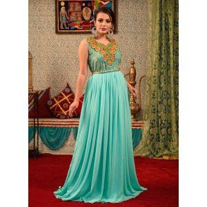 Mint Green Color Modest Thread Work Abaya Dress