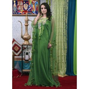 Green Color Dubai Style Free Size Kaftan