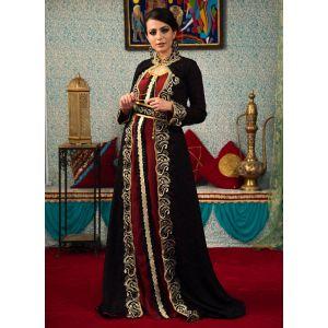 Black and Maroon Color Modest Thread Work Kaftan