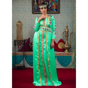 Mint Green Color Morrocon Style Thread Work Kaftan