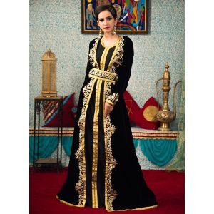 Black Color Morrocon Style Thread Work Caftan