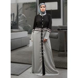 Dark Gray and Black Color Partywear Dubai Dress