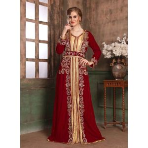 Maroon and Beige color Kaftan-Velvet Kaftan