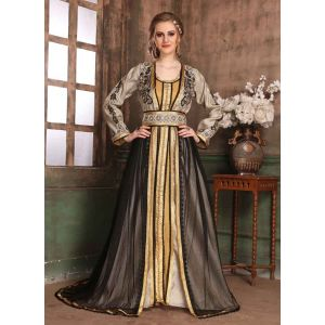 Gold,Gray and Black color Kaftan-Brocade Kaftan