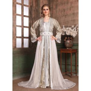Grey and White color Kaftan-Brocade Kaftan
