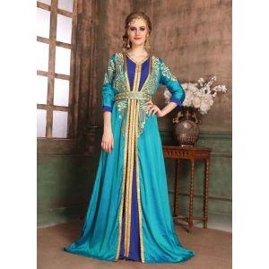 Green and Blue color Kaftan-Crepe Kaftan