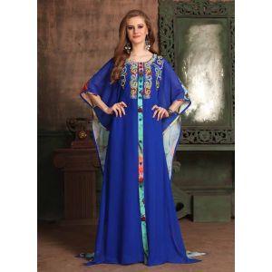 Blue and Multicoloured color Kaftan-Georgette Kaftan