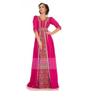 Attractive Dark Pink Jacket Style Moroccan Wedding Caftan