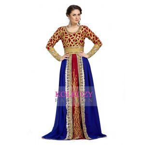 Handsome Blue & Orange Moroccan Kaftan Dresses