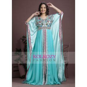Blue color Exclusive Silk Designer Hand Made Kaftans