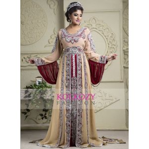 Beautiful Arabic Muslin Wedding Dresses Cream and Maroon - Bridal Kaftan